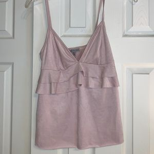 Light Pink Faux Suede Tank Top